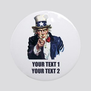 [Your text] Uncle Sam Ornament (Round)